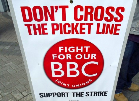 Manadatory Credit: Photo by Tony Kyriacou / Rex Features (523886k) BBC strike against threatened job cuts at Television Centre BBC STRIKE, TELEVISION CENTRE, LONDON, BRITAIN - 23 MAY 2005
