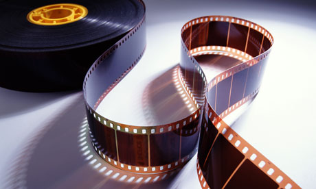 A roll of 35mm movie film
